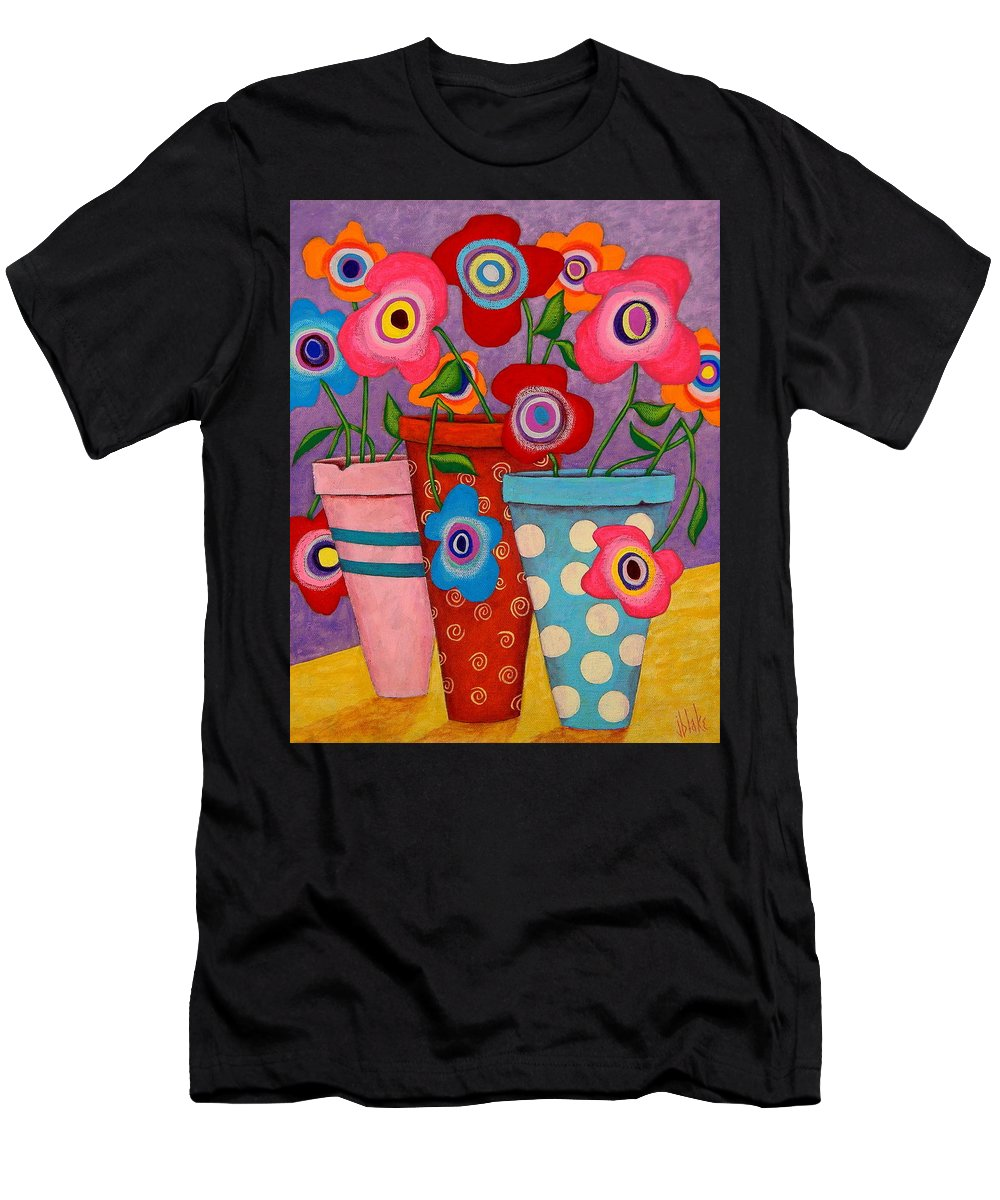 Modern Folk Art Flowers Men's T-Shirt (Athletic Fit) featuring the painting Floral Happiness by John Blake