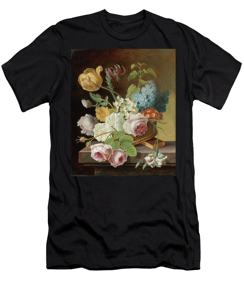 Jan Frans Van Dael (flemish Painter Men's T-Shirt (Athletic Fit) featuring the painting Floral Still Life by MotionAge Designs