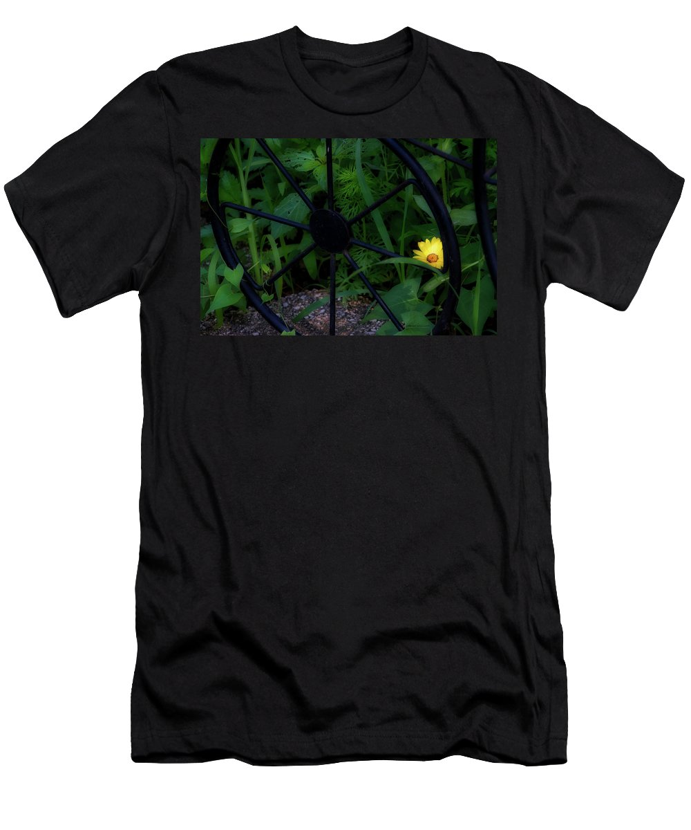Flower Men's T-Shirt (Athletic Fit) featuring the photograph Floral Yellow Peek A Boo by Thomas Woolworth