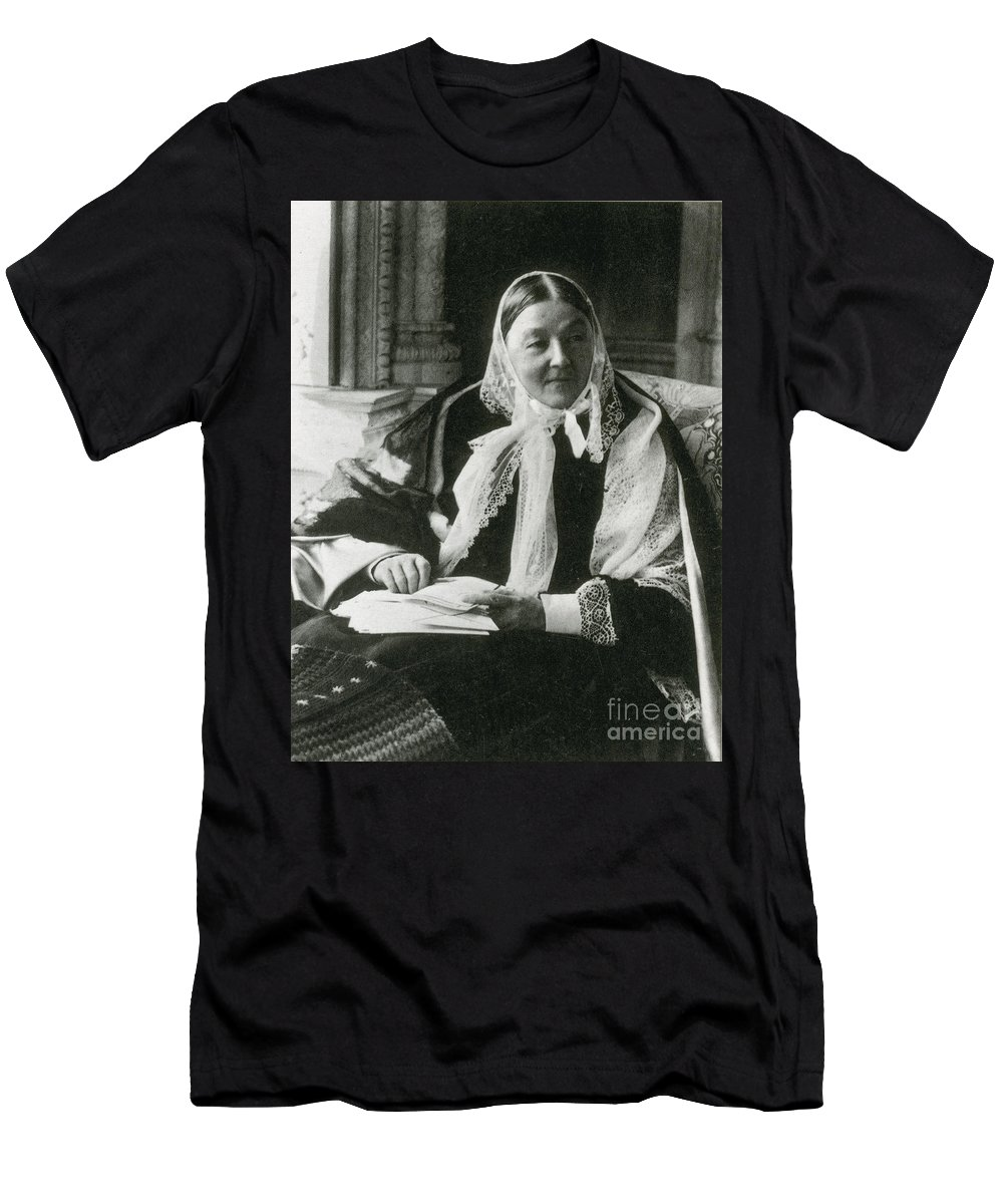 History Men's T-Shirt (Athletic Fit) featuring the photograph Florence Nightingale, English Nurse by Science Source