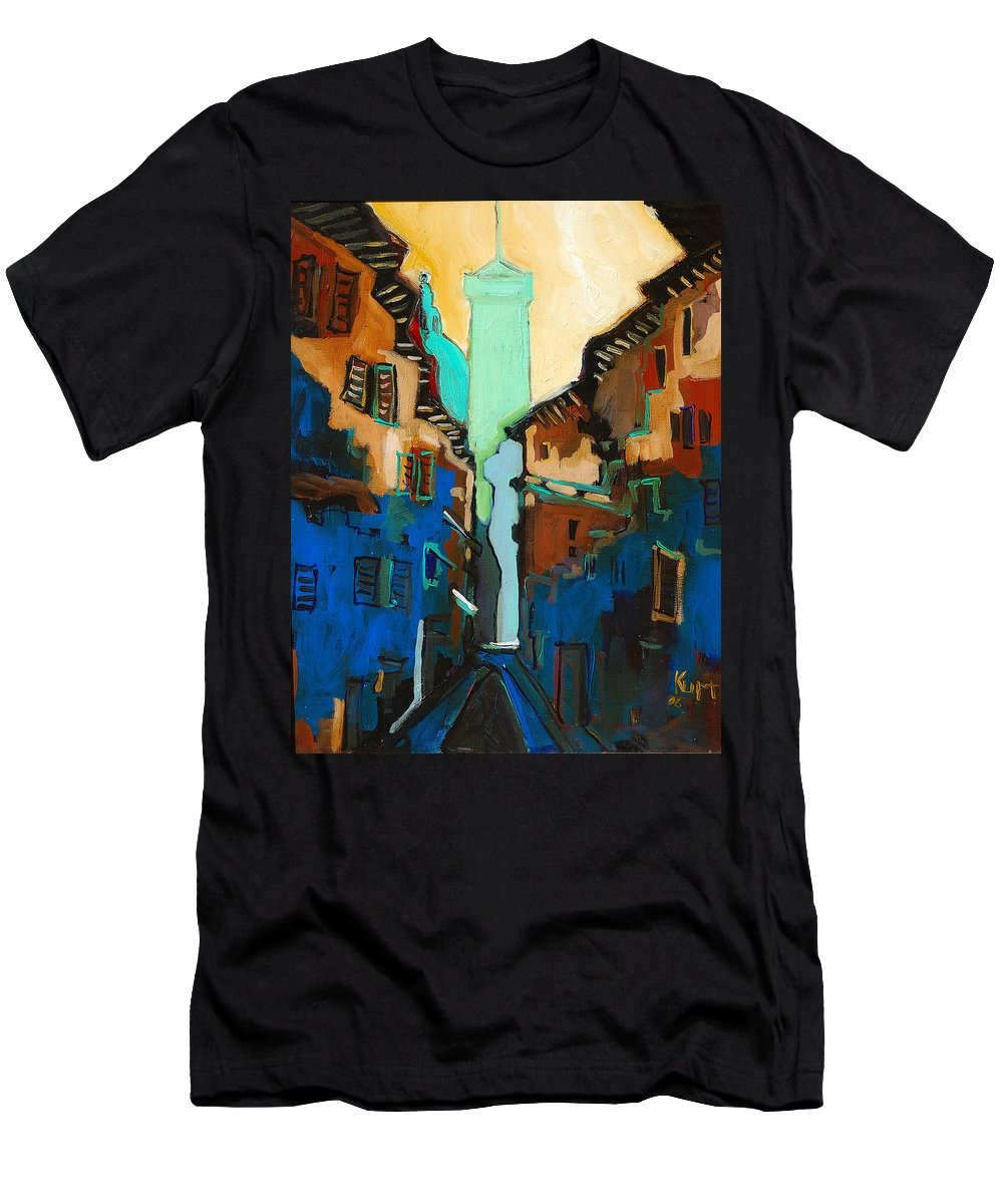 Florence Men's T-Shirt (Athletic Fit) featuring the painting Florence Street Study by Kurt Hausmann