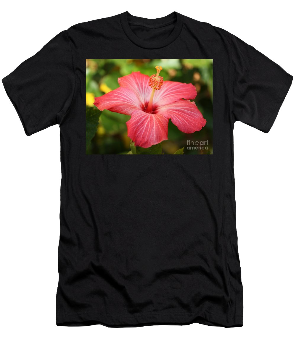Pink Hibiscus Men's T-Shirt (Athletic Fit) featuring the photograph Florida Hibiscus by Carol Groenen