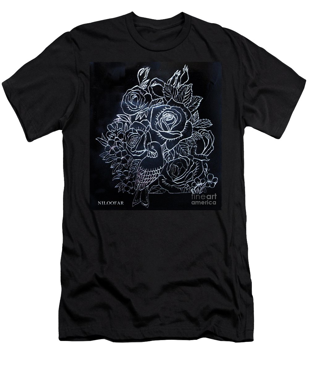 Scratch Board Men's T-Shirt (Athletic Fit) featuring the drawing Flower And Bird Scratch Board by Niloofar Ojani