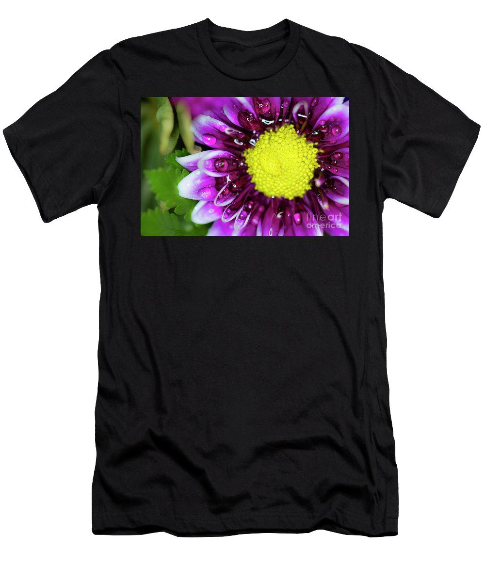 Flower Men's T-Shirt (Athletic Fit) featuring the photograph Flower And Droplets by Dianne Phelps