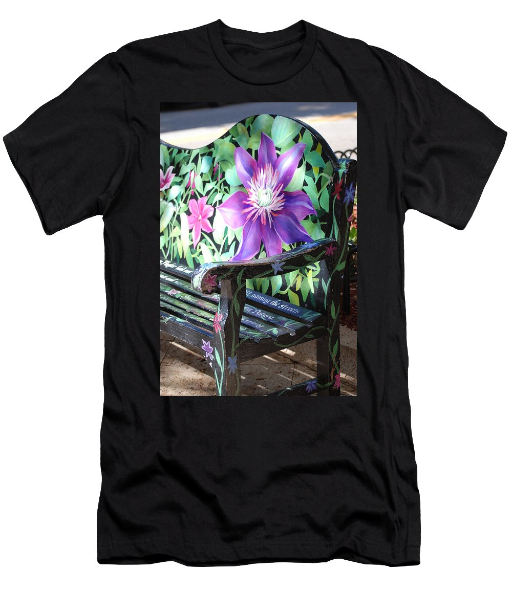 Macro T-Shirt featuring the photograph Flower Bench by Rob Hans