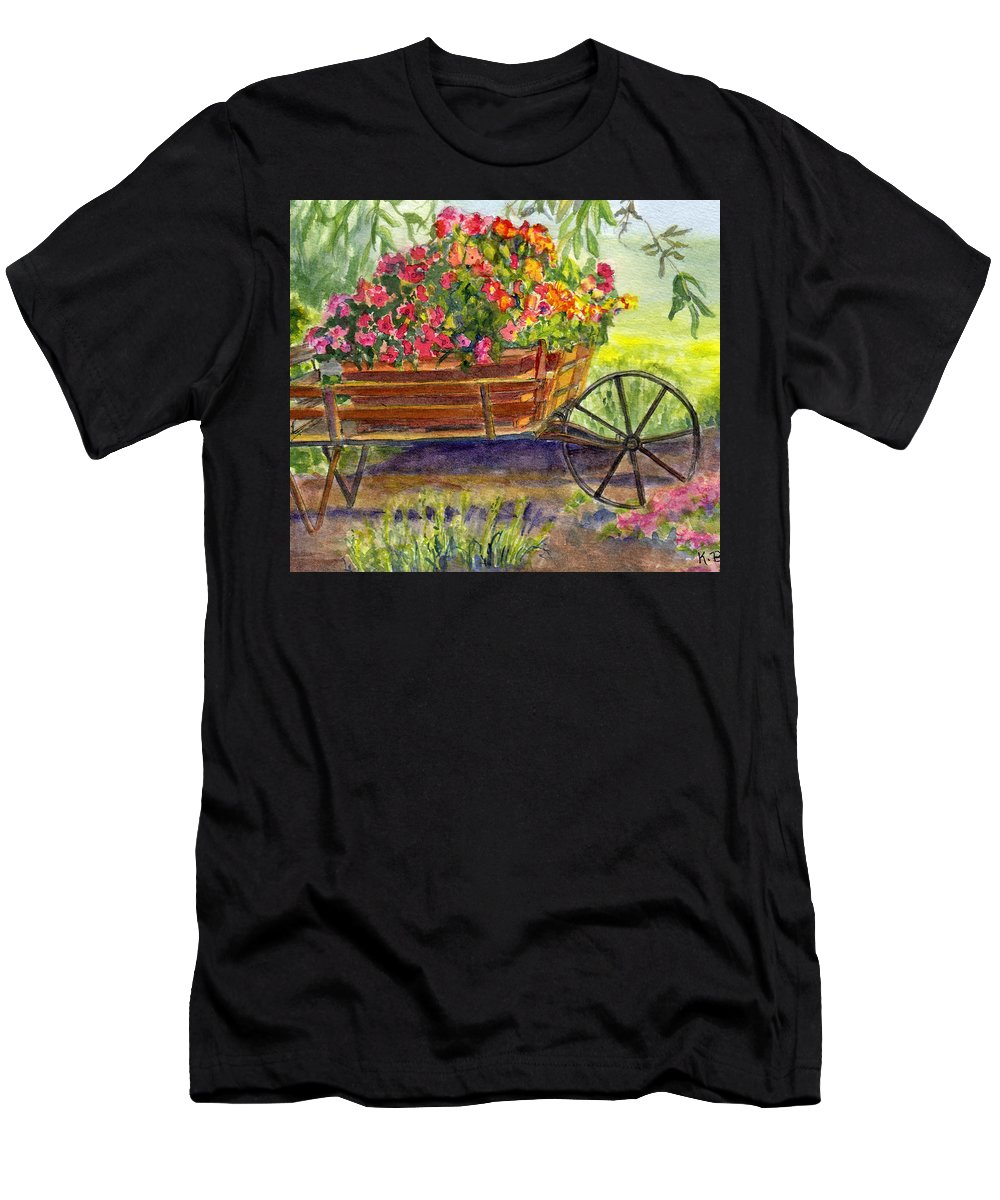 Flower Men's T-Shirt (Athletic Fit) featuring the painting Flower Cart by Katherine Berlin
