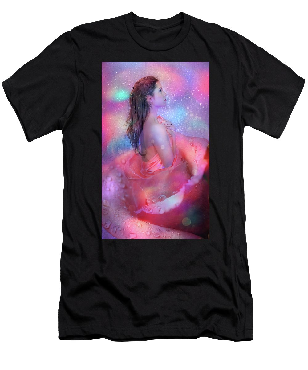Fairy Men's T-Shirt (Athletic Fit) featuring the photograph Flower Fairy by Lilia D