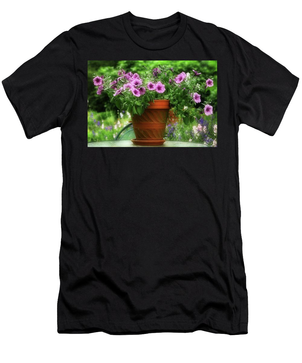 Flower Men's T-Shirt (Athletic Fit) featuring the photograph Flower Garden Pot by Artie Rawls