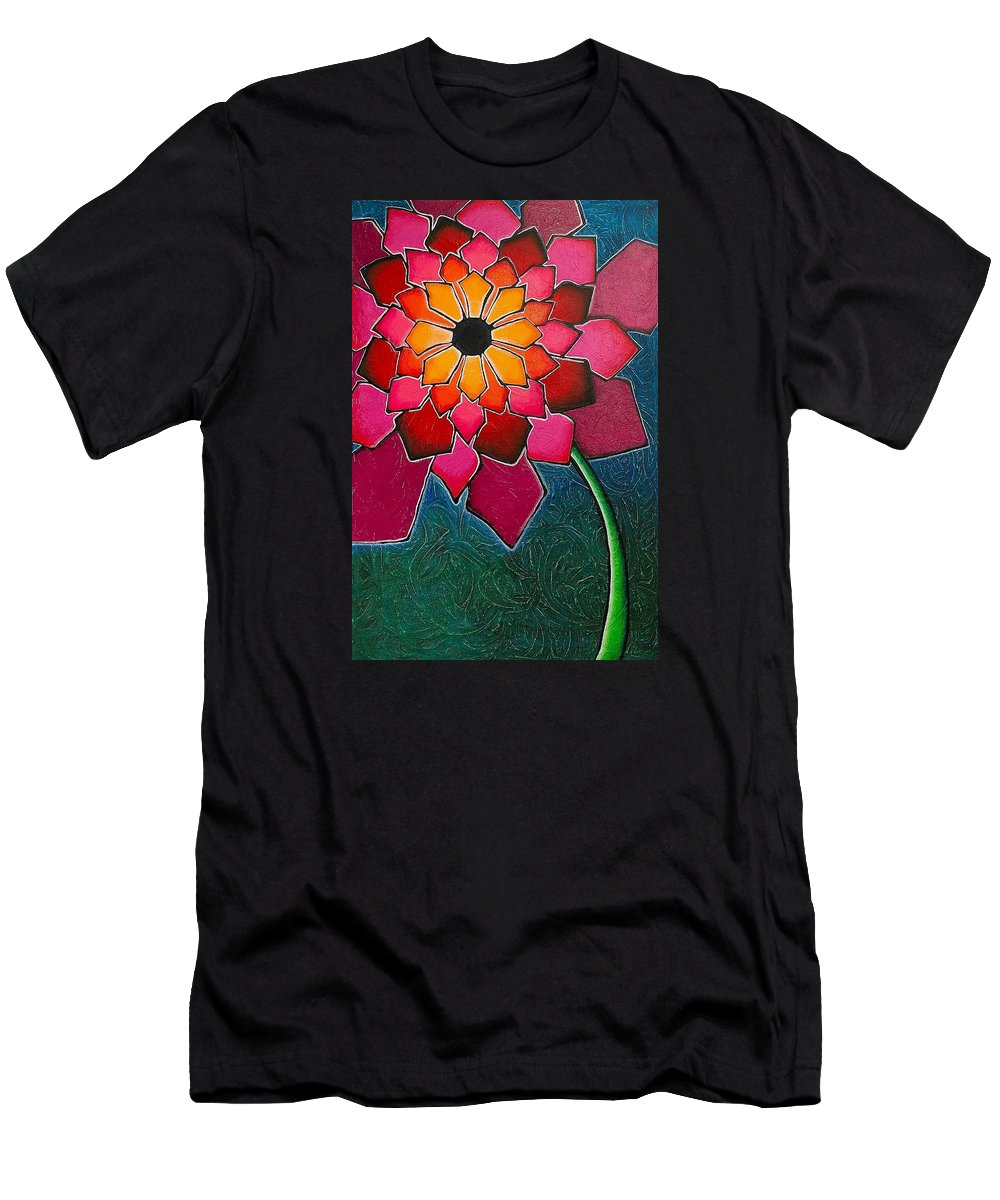 Elsie Porter Men's T-Shirt (Athletic Fit) featuring the painting Flower Mandala-a by Elsie Porter