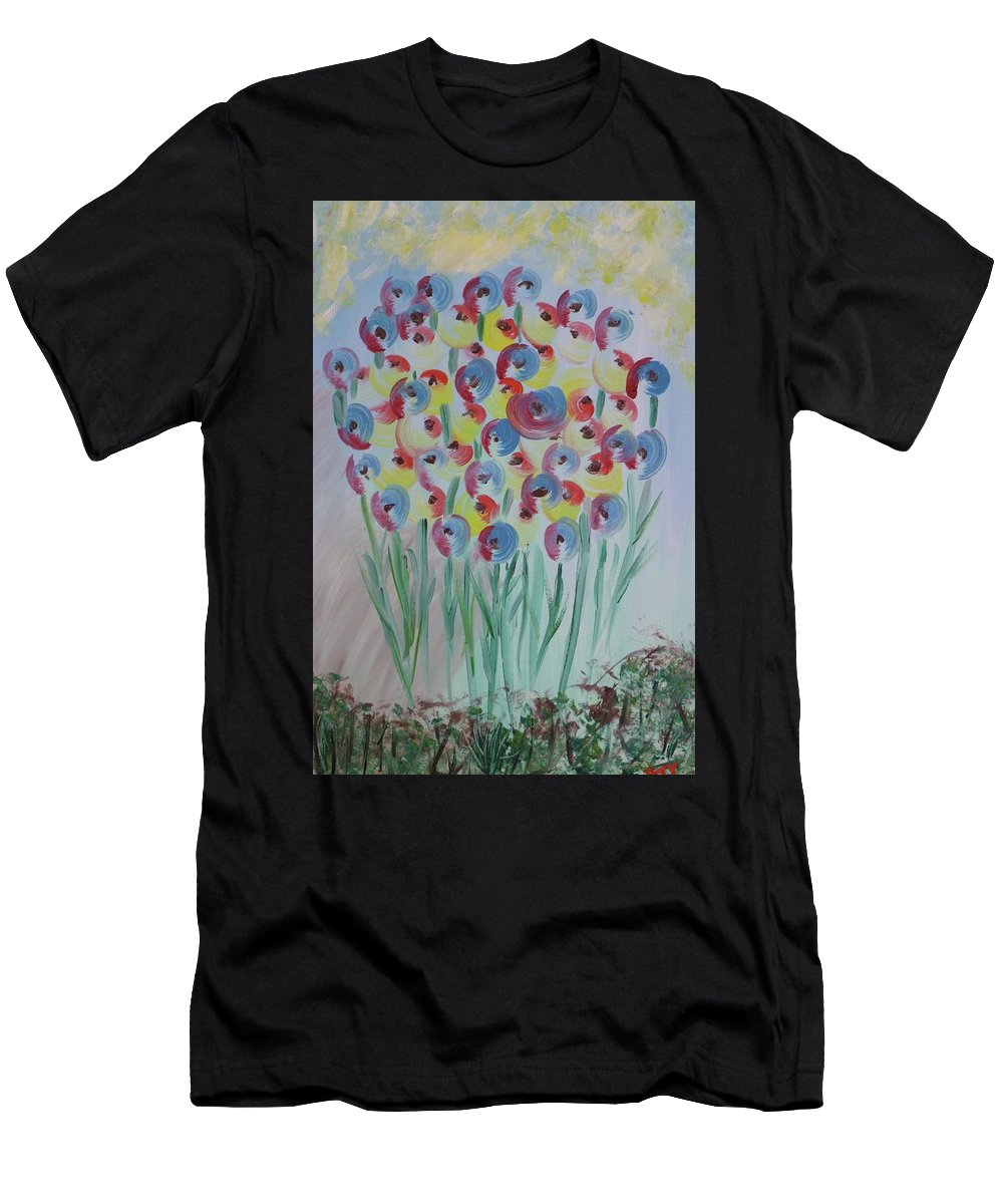 Flowers Men's T-Shirt (Athletic Fit) featuring the painting Flower Twists by Barbara Yearty