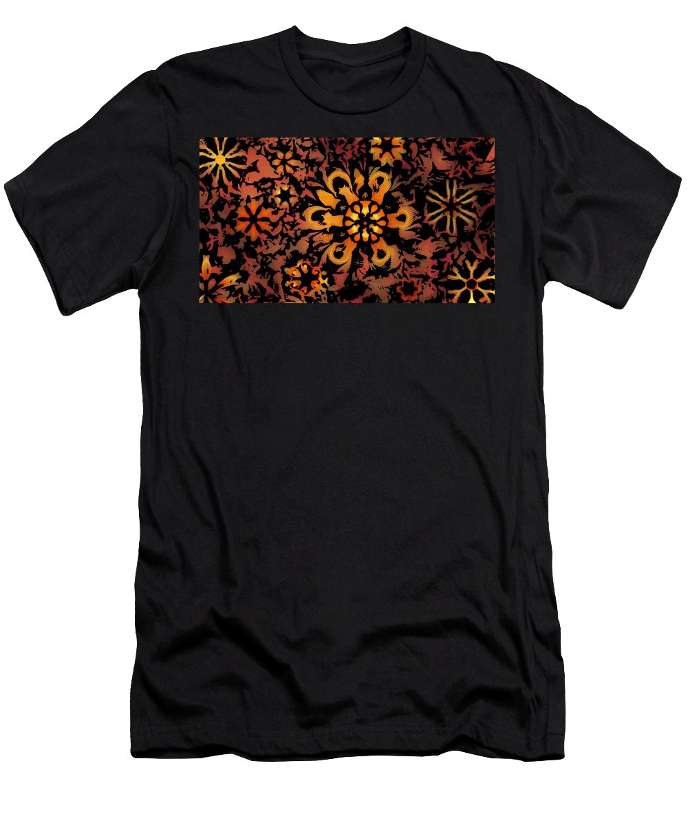 Abstract Digital Painting Men's T-Shirt (Athletic Fit) featuring the digital art Flower Woodcut by David Lane