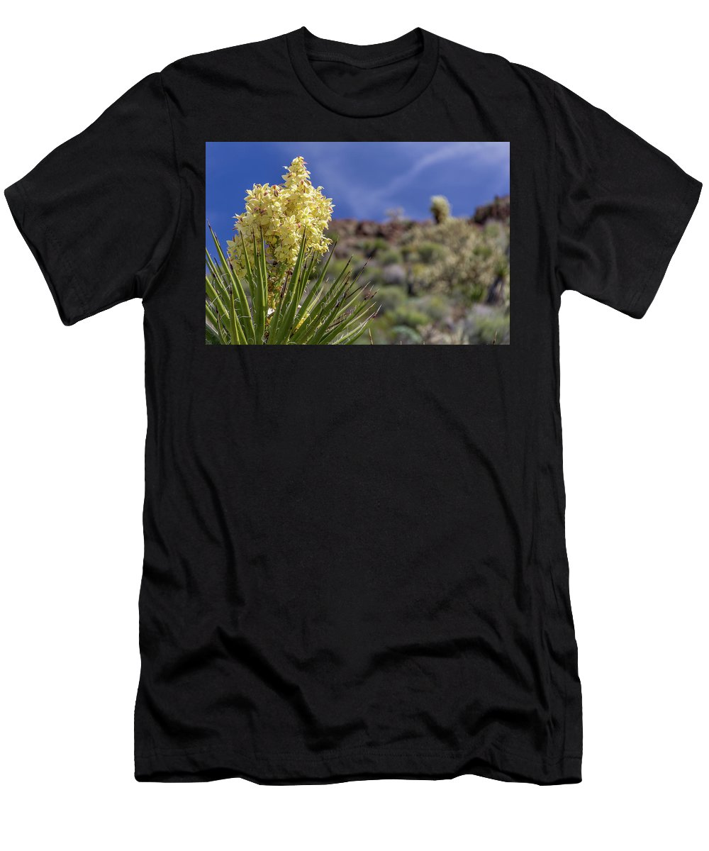 Cactus Men's T-Shirt (Athletic Fit) featuring the photograph Flowering Yucca by Tom Bergerson