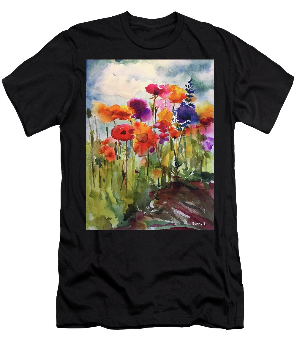Wildflowers Men's T-Shirt (Athletic Fit) featuring the painting Wildflower Trail by Bonny Butler