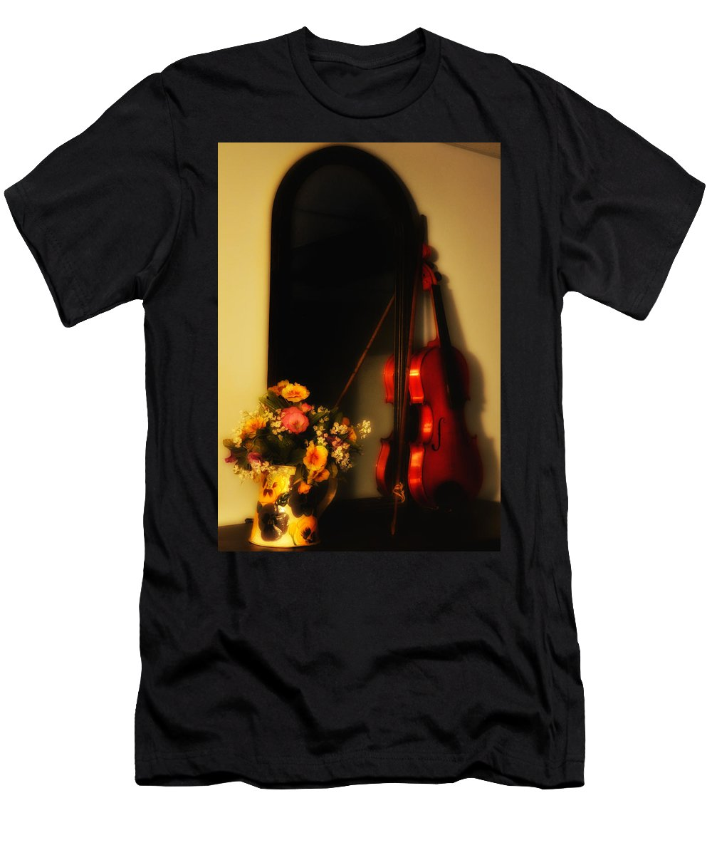 Flowers Men's T-Shirt (Athletic Fit) featuring the photograph Flowers And Violin by Bill Cannon