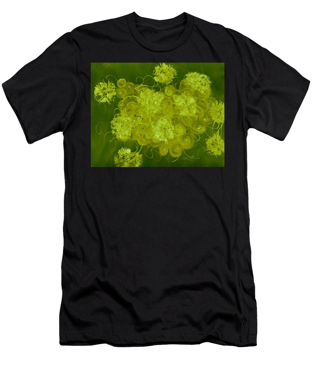 Abstract Men's T-Shirt (Athletic Fit) featuring the digital art Flowers, Buttons And Ribbons -shades Of Chartreuse by Carlene Harris
