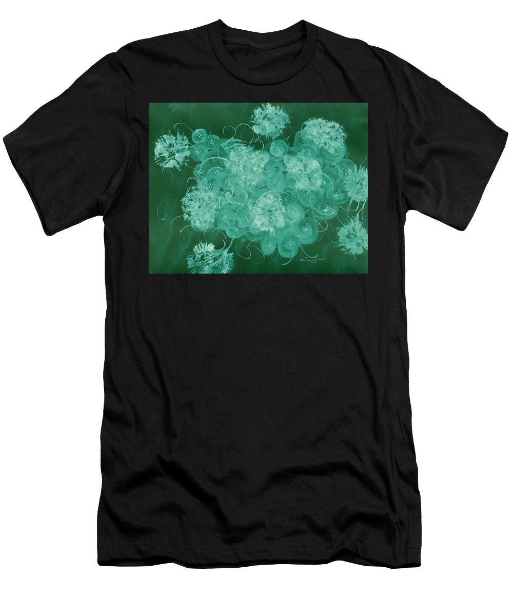 Abstract Men's T-Shirt (Athletic Fit) featuring the digital art Flowers, Buttons And Ribbons -shades Of Green by Carlene Harris