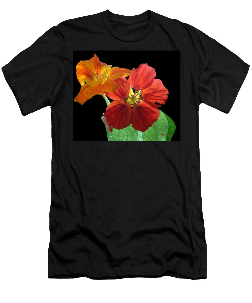 Nasturtiums Men's T-Shirt (Athletic Fit) featuring the painting Flowers For Ebie by RC DeWinter