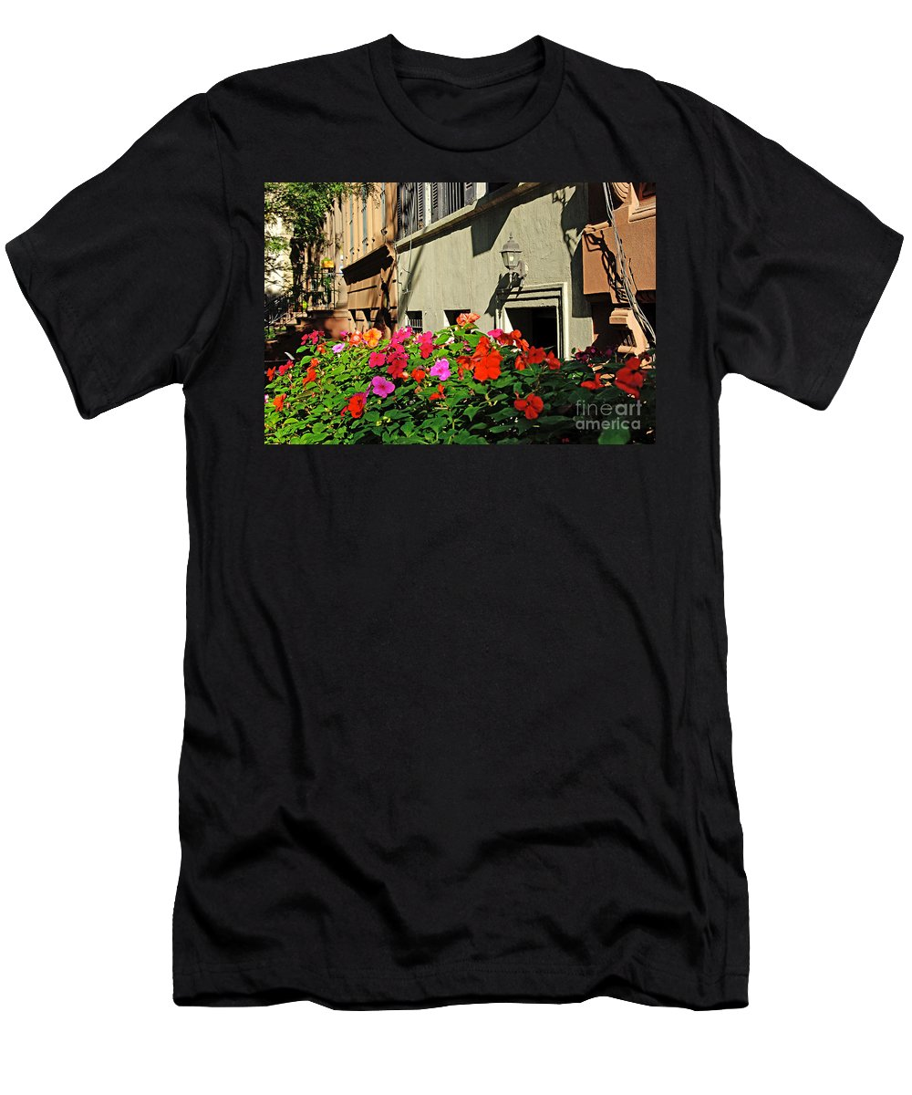 Flowers Men's T-Shirt (Athletic Fit) featuring the photograph Upper West Side, New York by Zal Latzkovich