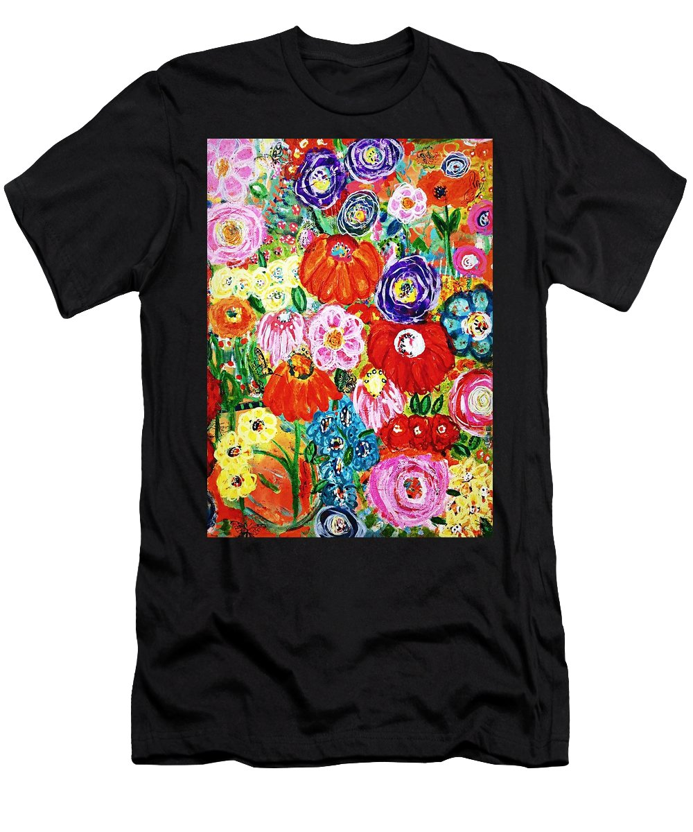 Floral Men's T-Shirt (Athletic Fit) featuring the painting Flowers by Tresa Steenberg