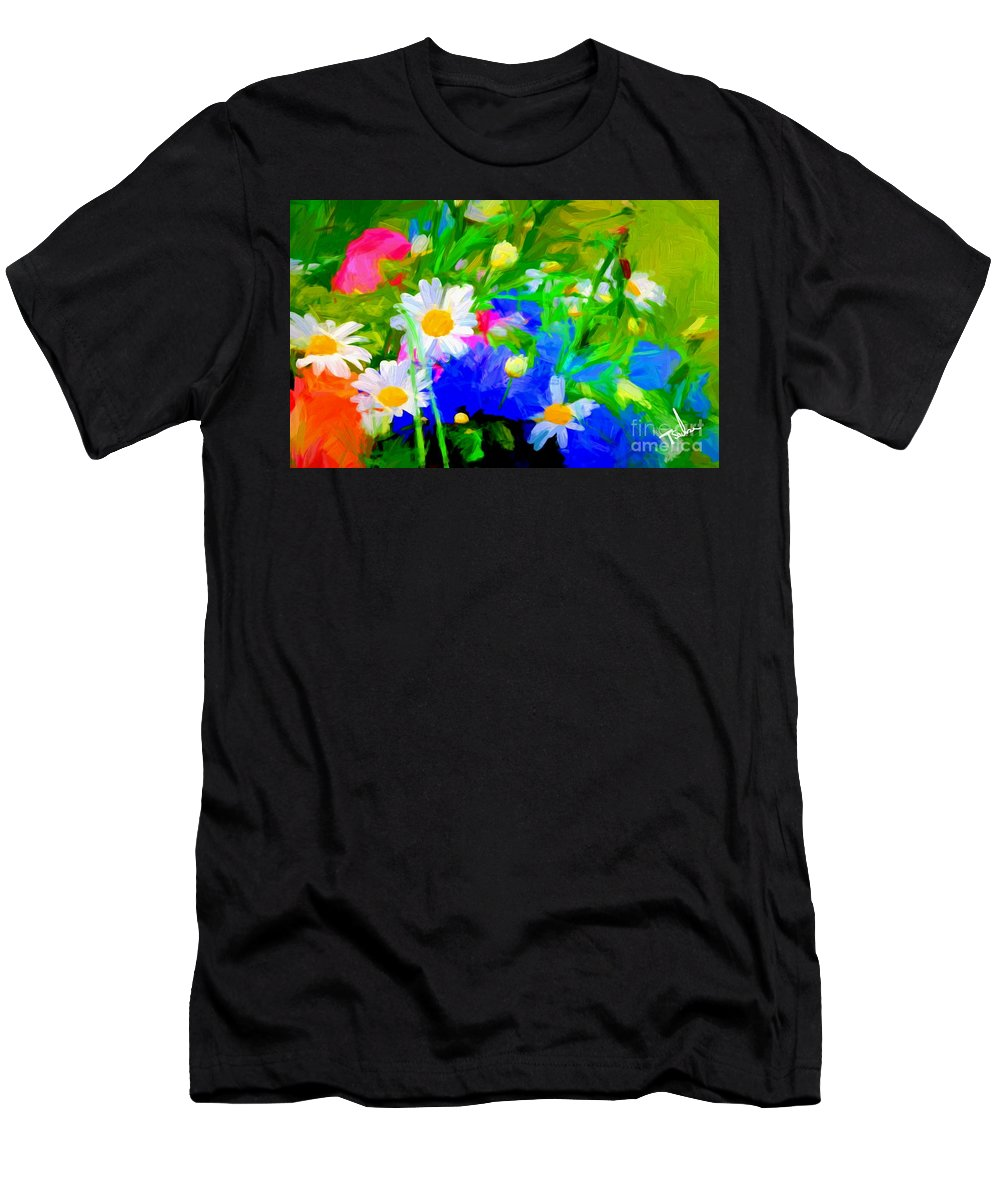 Floral Men's T-Shirt (Athletic Fit) featuring the digital art Flowers Two by Tom Sachse