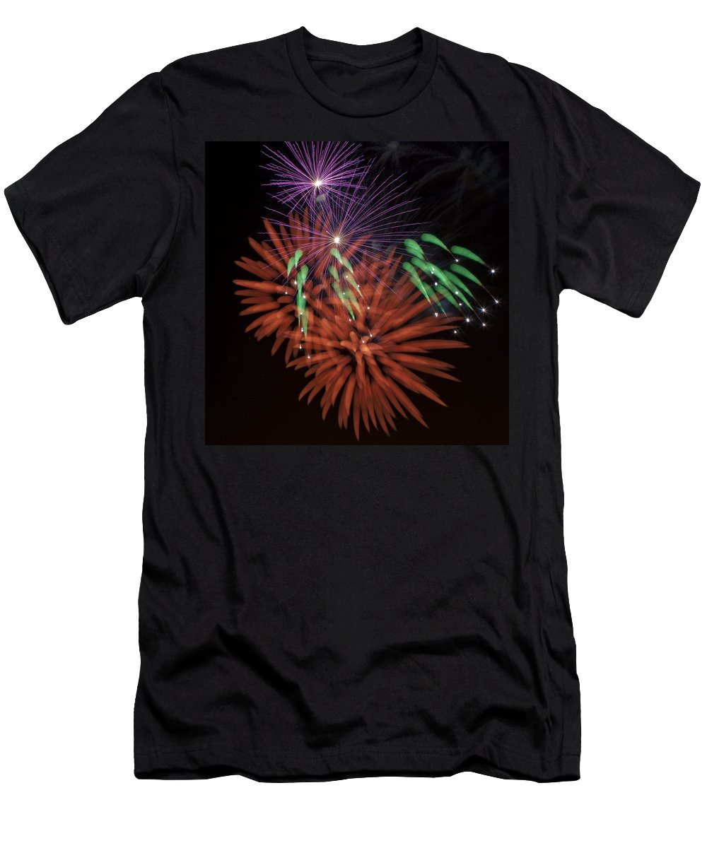Fireworks Men's T-Shirt (Athletic Fit) featuring the photograph Flowerworks 1 by Sandy Swanson