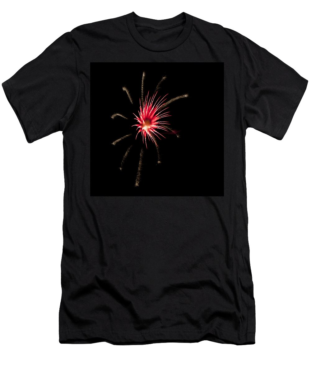 Fireworks Men's T-Shirt (Athletic Fit) featuring the photograph Flowerworks #12 by Sandy Swanson