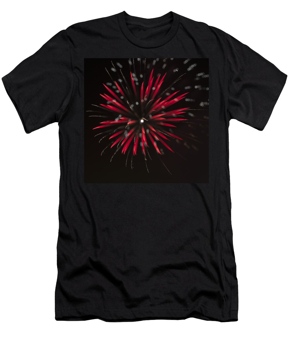 Fireworks Men's T-Shirt (Athletic Fit) featuring the photograph Flowerworks #7 by Sandy Swanson