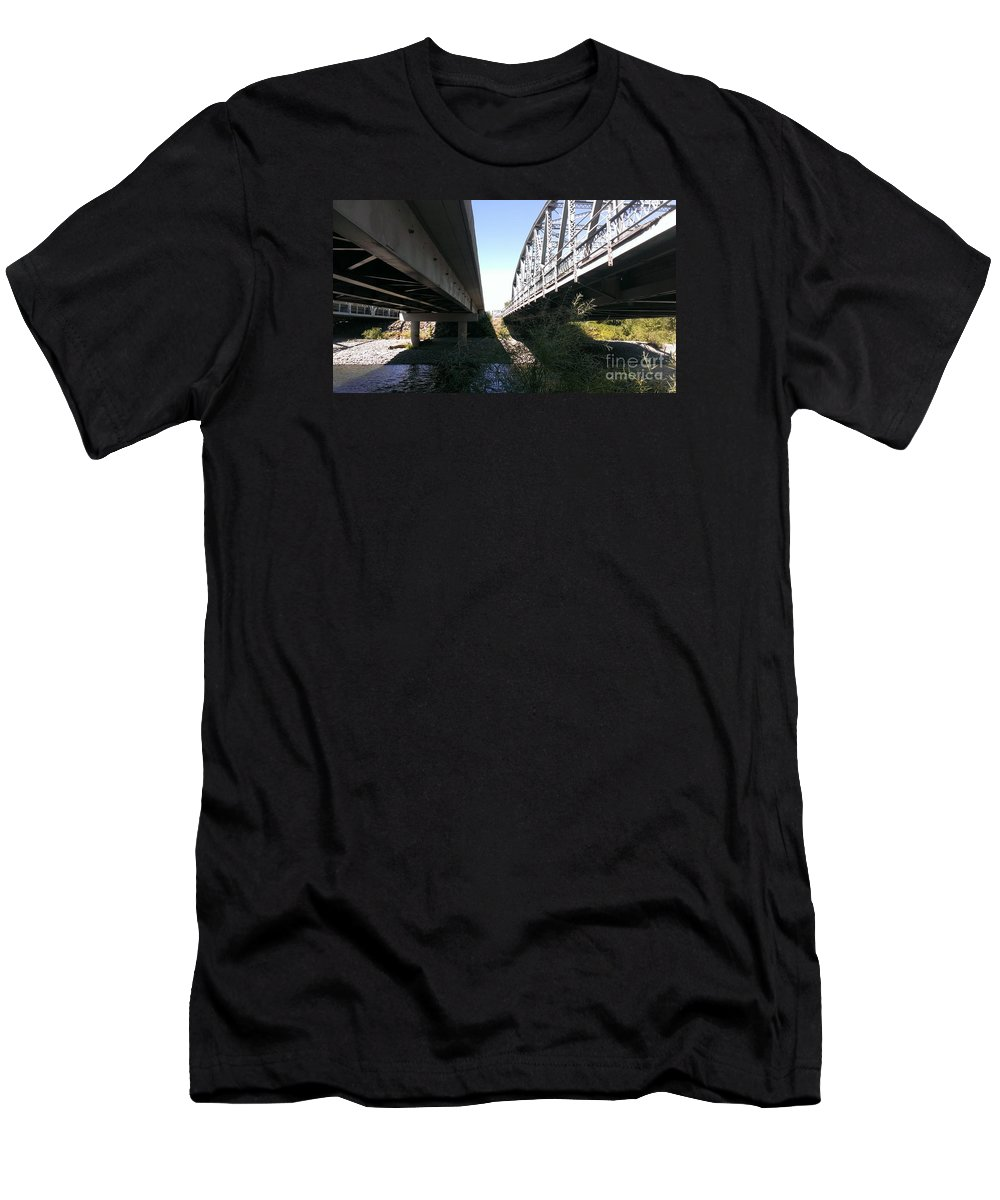 Bridge Men's T-Shirt (Athletic Fit) featuring the photograph Flowing Under The Bridges by LKB Art and Photography