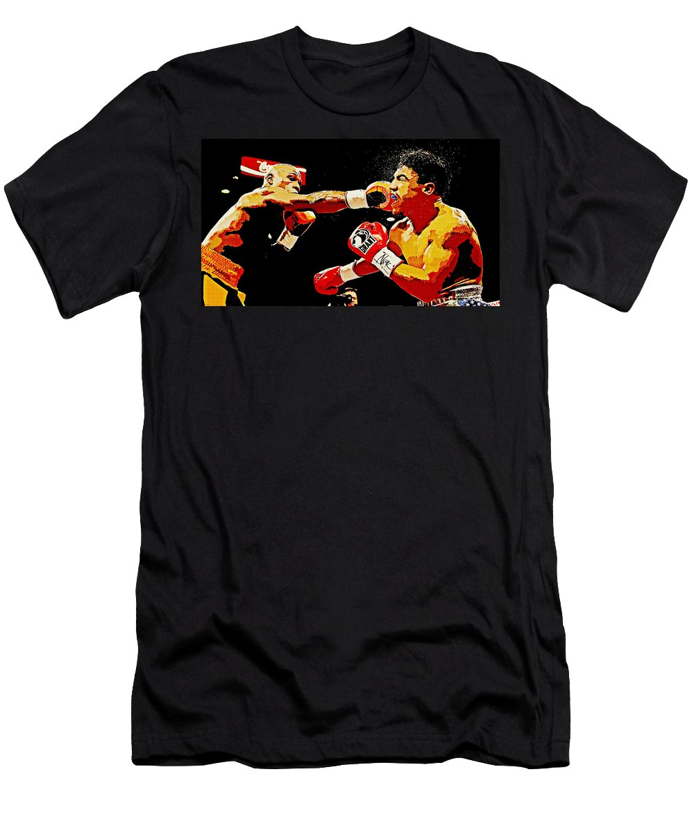 Floyd Mayweather Men's T-Shirt (Athletic Fit) featuring the digital art Floyd Mayweather by Lora Battle