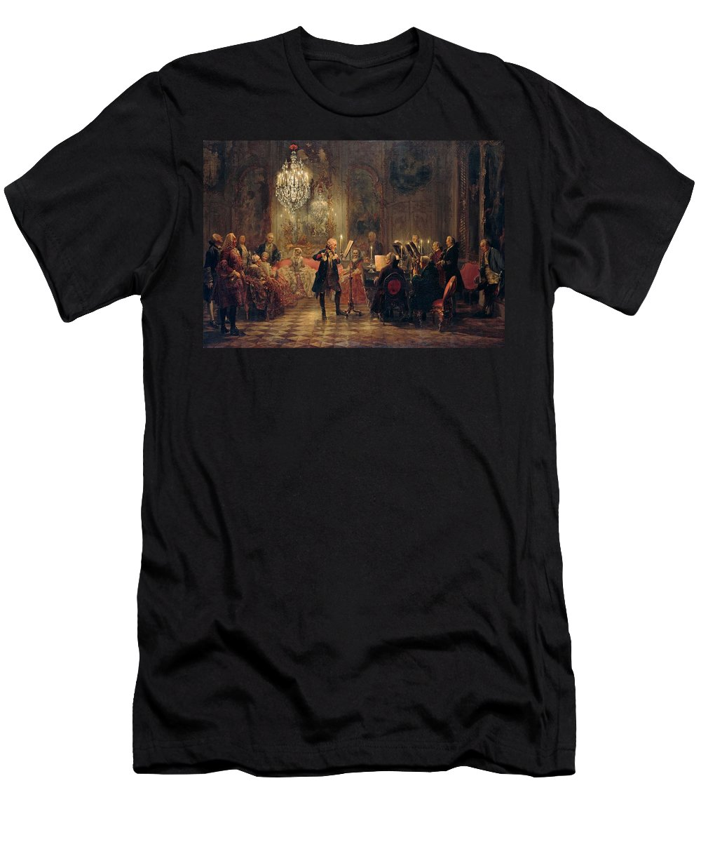 Flute-concert-with-frederick-the-great-in-sanssouci Men's T-Shirt (Athletic Fit) featuring the painting Flute Concert With Frederick The Great In Sanssouci by Adolph Menzel