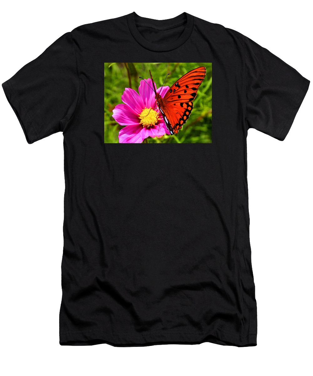 Butterfly Men's T-Shirt (Athletic Fit) featuring the photograph Fritillary Flutterby by Kristin Elmquist