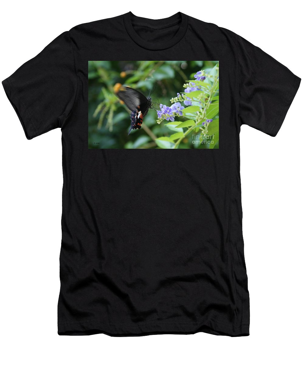Butterfly Men's T-Shirt (Athletic Fit) featuring the photograph Fly In Butterfly by Shelley Jones