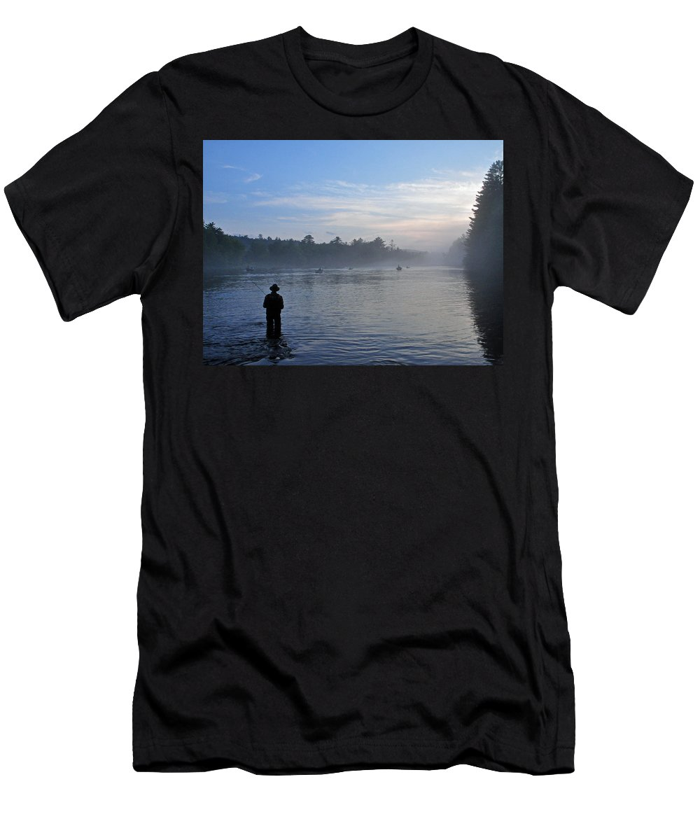 Flyfisherman Men's T-Shirt (Athletic Fit) featuring the photograph Flyfishing In Maine by Glenn Gordon