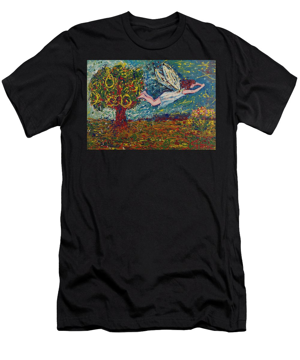 Landscape Men's T-Shirt (Athletic Fit) featuring the painting Flying Along With The Spirit by Ioulia Sotiriou