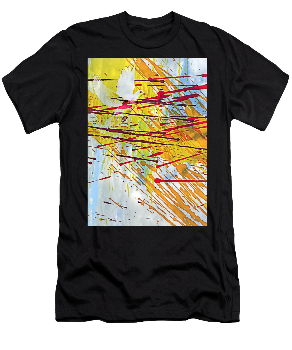 Flying Away Men's T-Shirt (Athletic Fit) featuring the photograph Flying Away by Munir Alawi