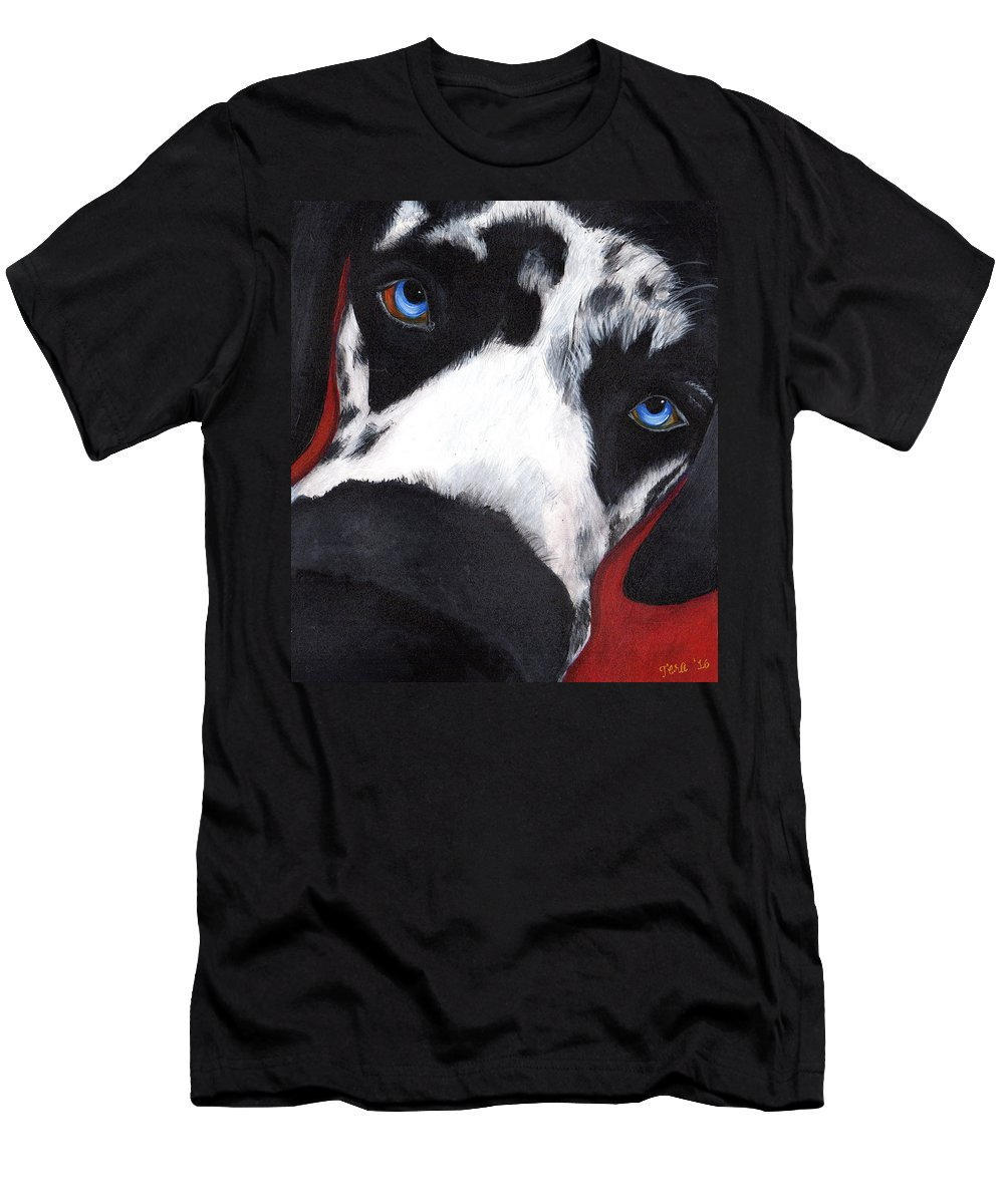 Dog Men's T-Shirt (Athletic Fit) featuring the painting Flynn by Tera Leigh