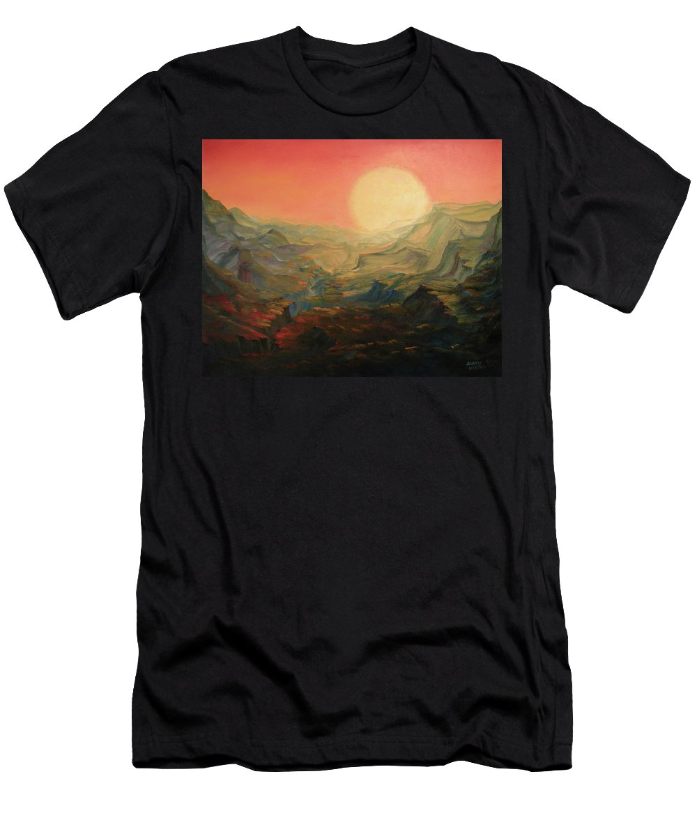Sun Men's T-Shirt (Athletic Fit) featuring the painting Focus by Sunny Franson