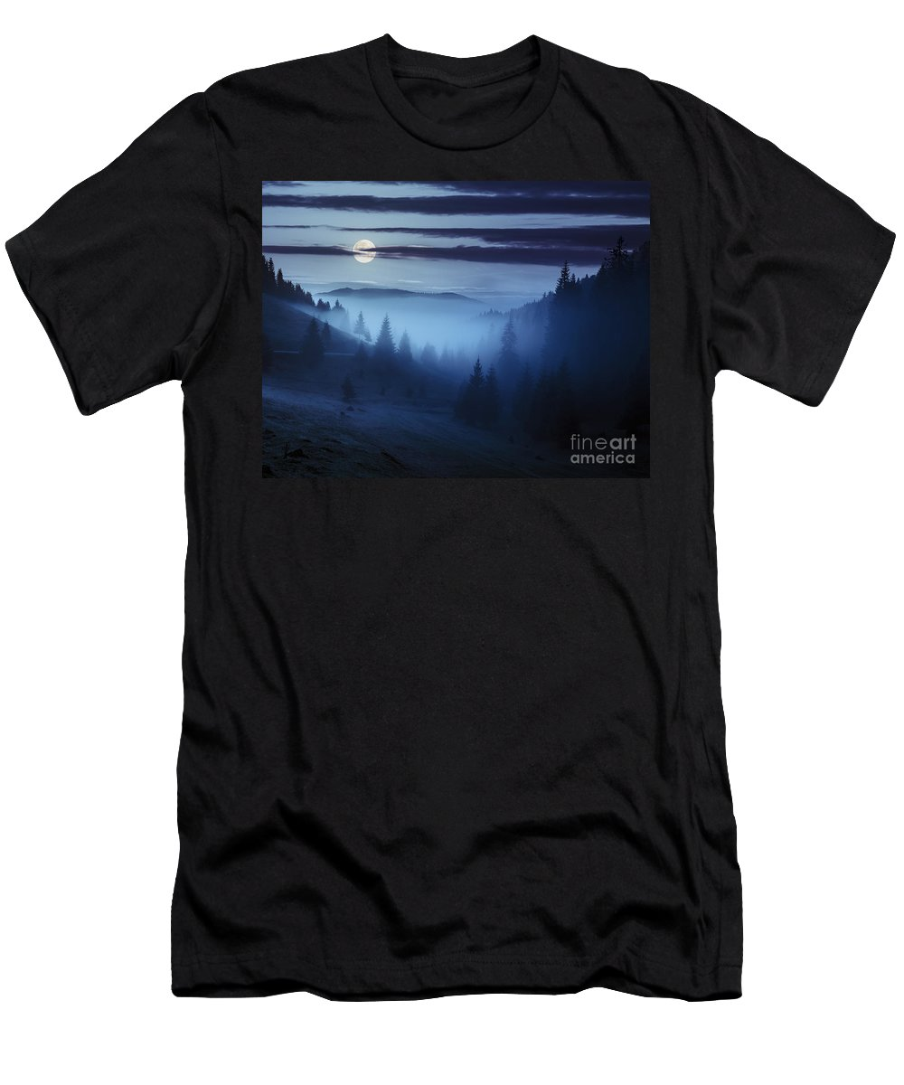 Fog Men's T-Shirt (Athletic Fit) featuring the photograph Fog Around The Mountain Top At Night by Michael Pelin