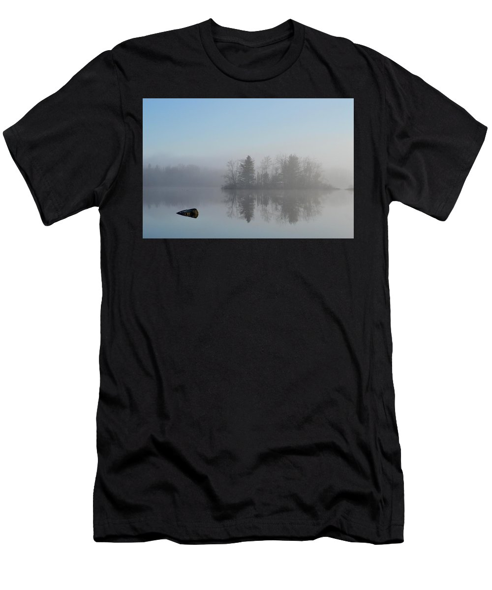 Maine Fog Pond Impressionism Baby Blue Pastel Men's T-Shirt (Athletic Fit) featuring the photograph Fog At Dawn On The Pond by Sheila Price