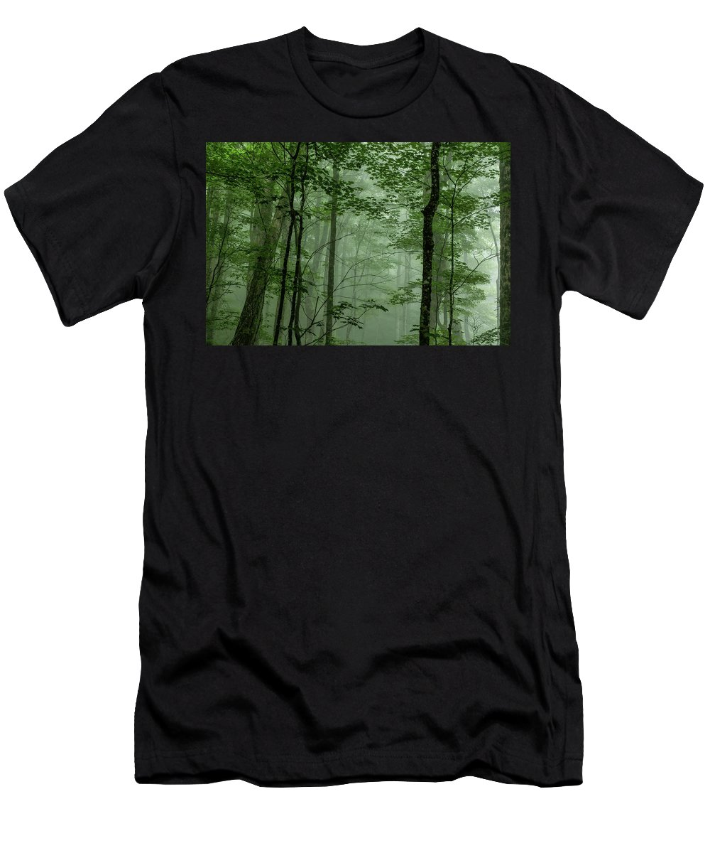 Fog Men's T-Shirt (Athletic Fit) featuring the photograph Fog In The Forest by Louise Lindsay