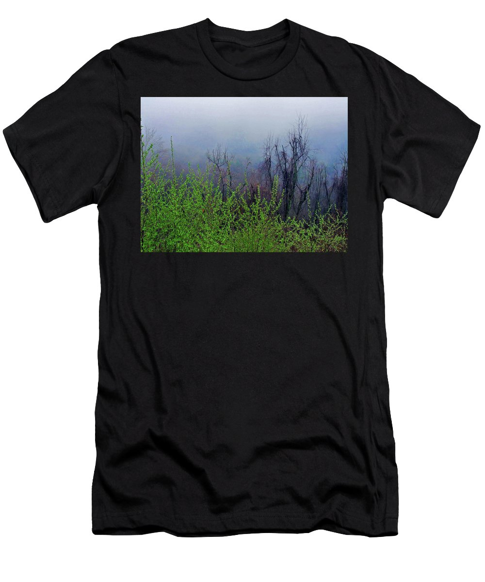 Landscape Men's T-Shirt (Athletic Fit) featuring the photograph Fog In The Mountains by Susan Lunsford