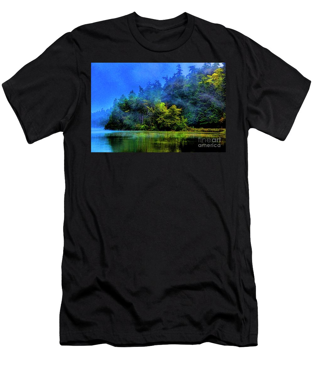 Lakes Washington State Men's T-Shirt (Athletic Fit) featuring the photograph Fog Lake by Rick Bragan