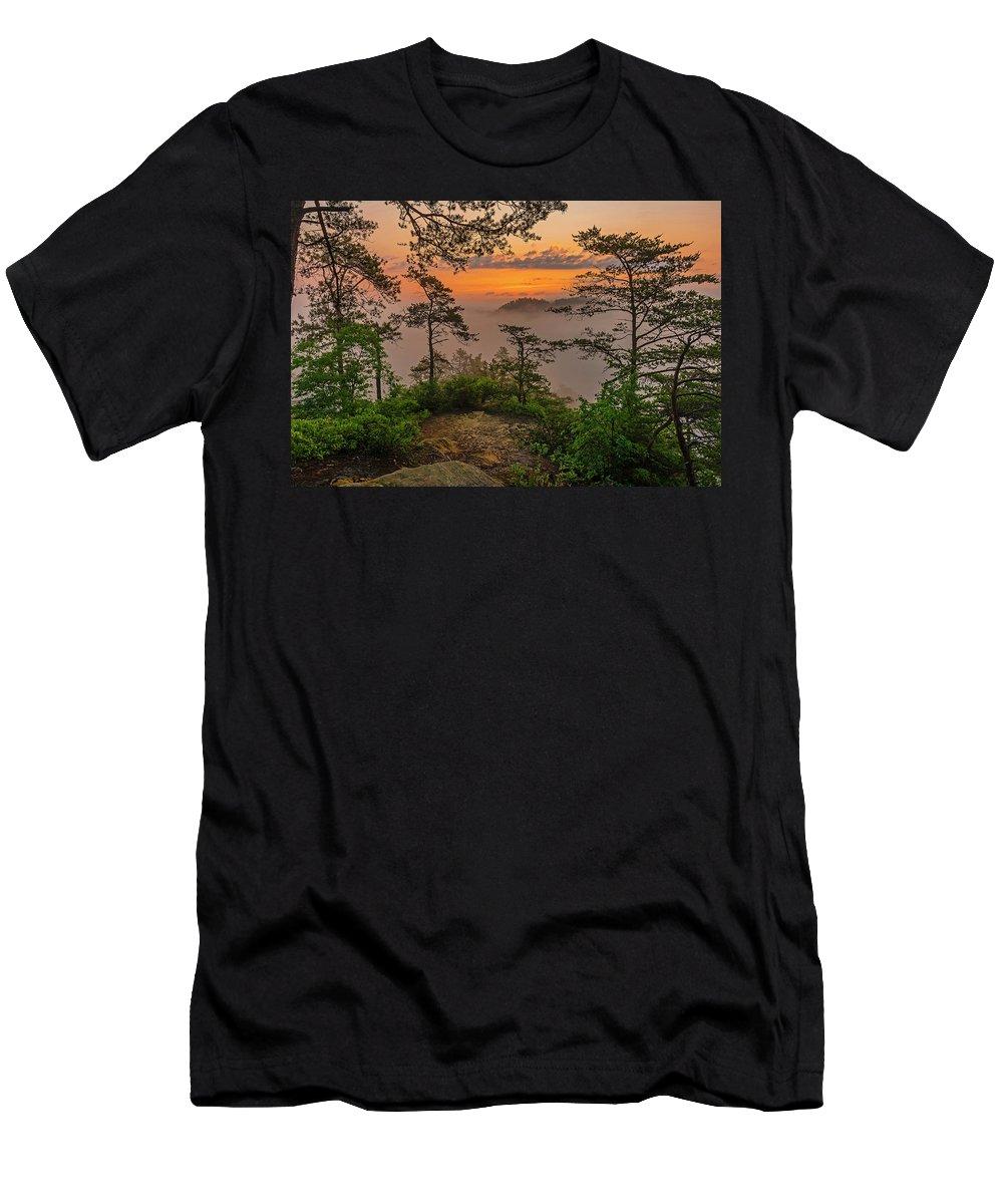 Ridges Men's T-Shirt (Athletic Fit) featuring the photograph Foggy Dawn. by Ulrich Burkhalter