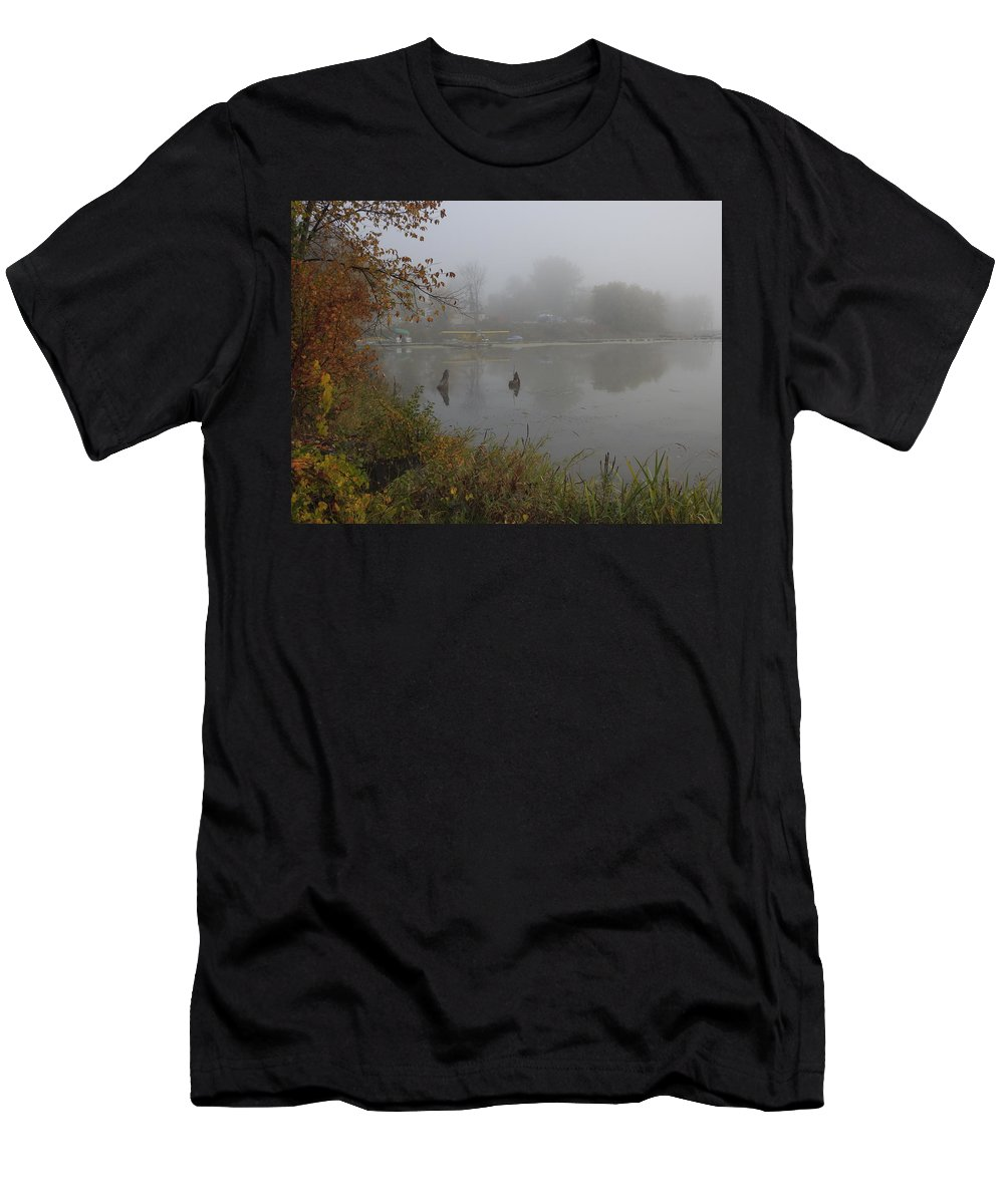 Autumn Men's T-Shirt (Athletic Fit) featuring the photograph Foggy Morning by Betty-Anne McDonald