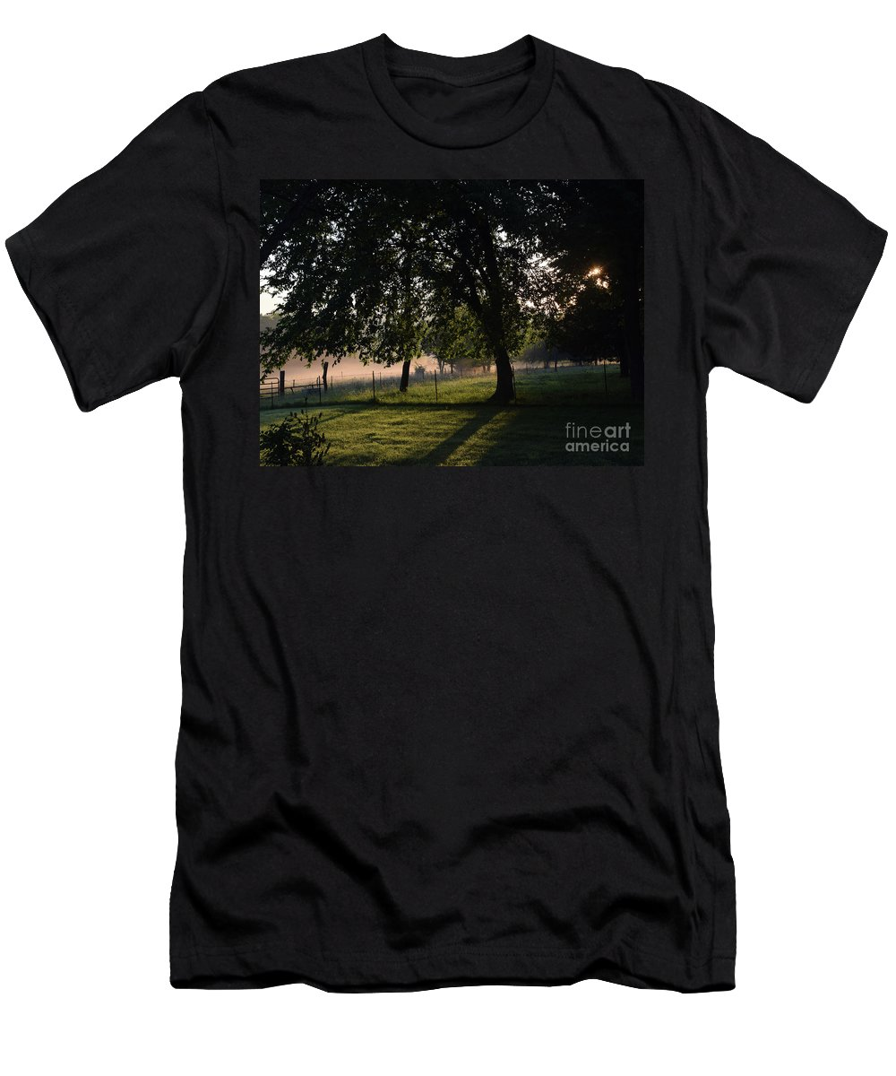 Nature Men's T-Shirt (Athletic Fit) featuring the photograph Foggy Morning by Mark McReynolds