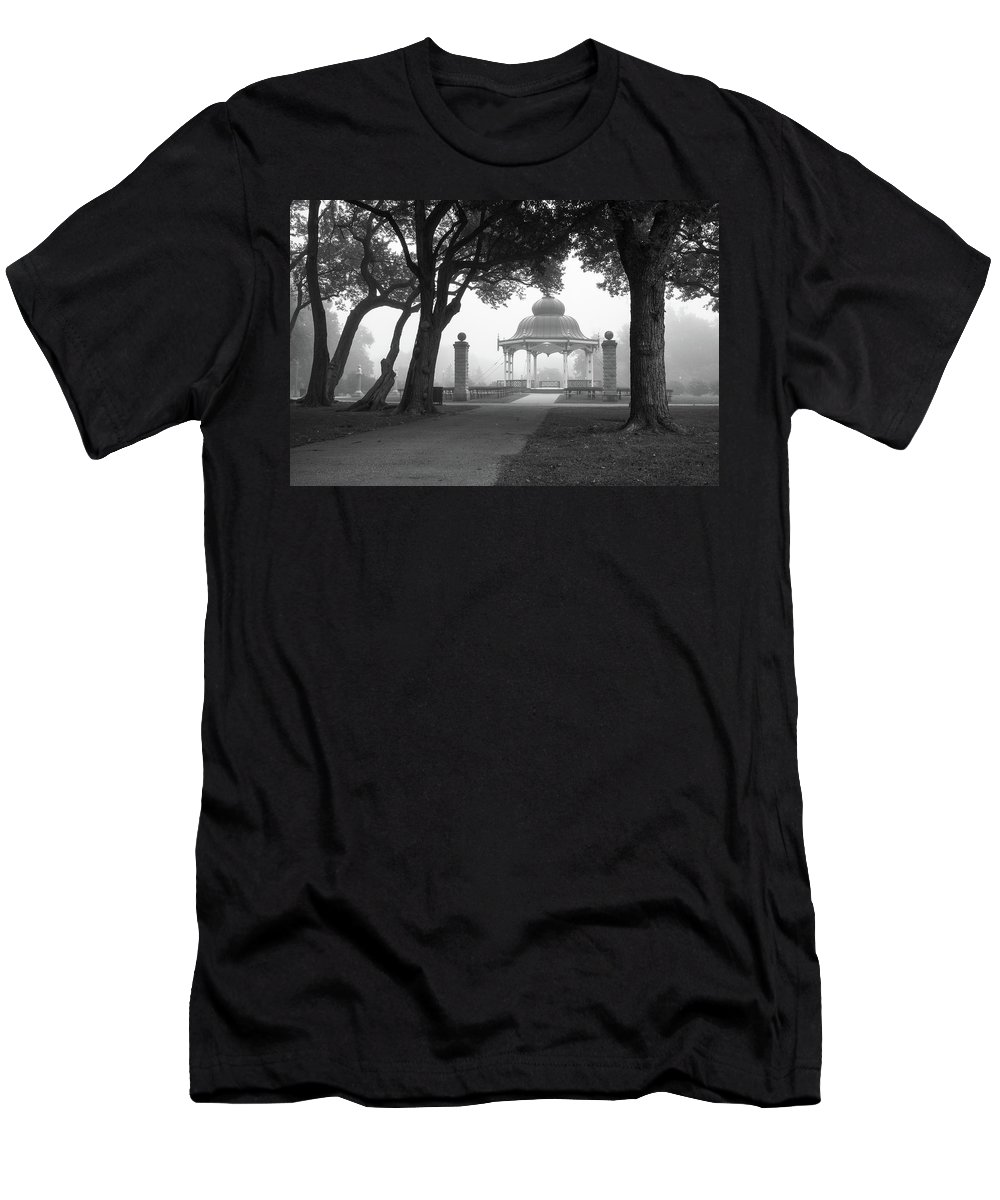 Tower Grove Men's T-Shirt (Athletic Fit) featuring the photograph Foggy Tower Grove by Scott Rackers