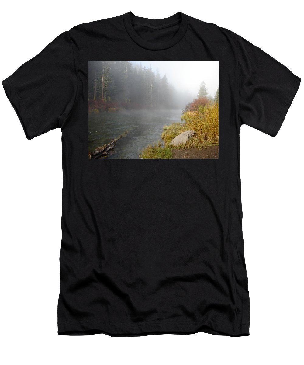 River Men's T-Shirt (Athletic Fit) featuring the photograph Foggy Truckee River by Charlotte Patterson
