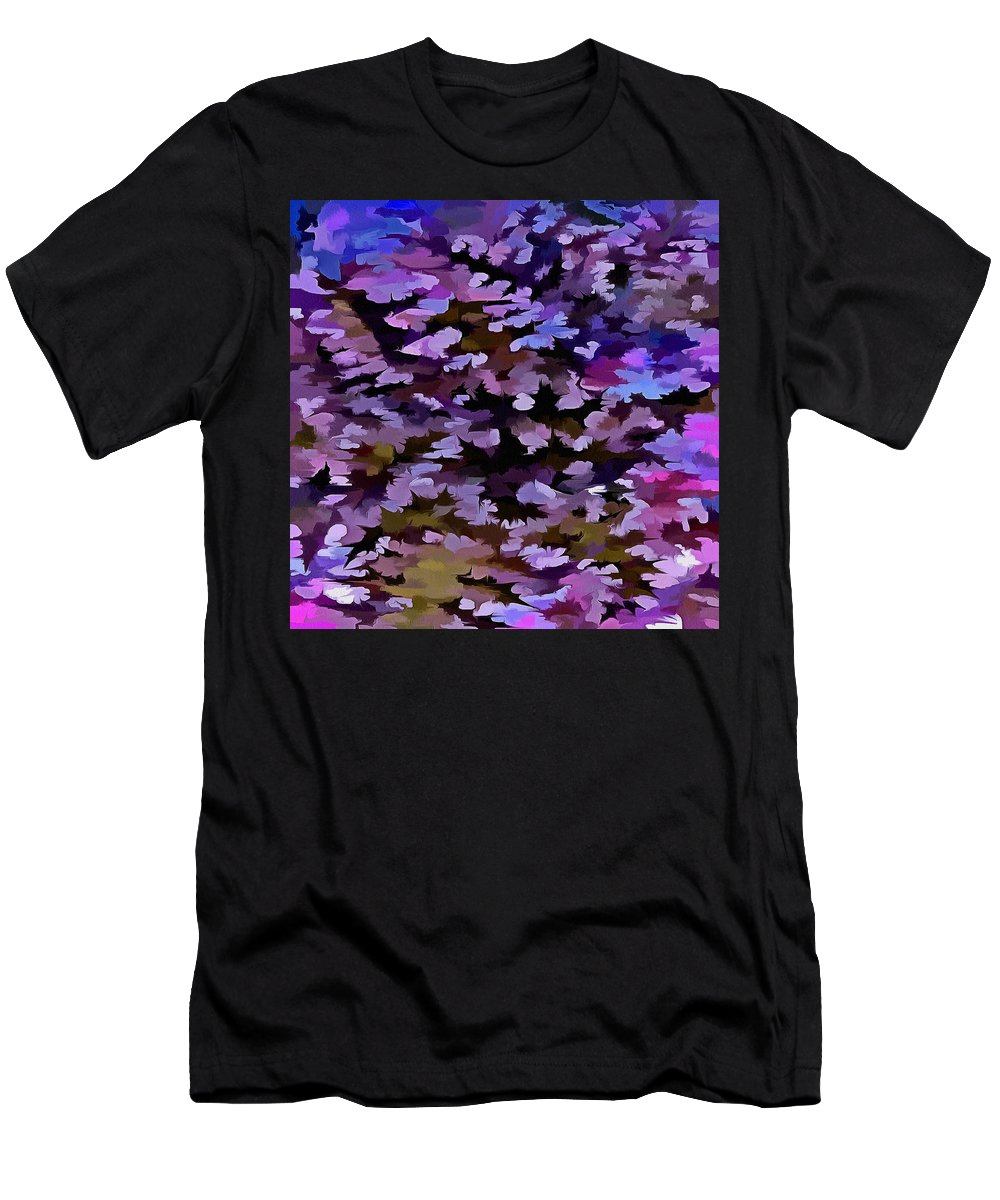 Dusty Miller Men's T-Shirt (Athletic Fit) featuring the digital art Foliage Abstract In Blue, Pink And Sienna by Taiche Acrylic Art