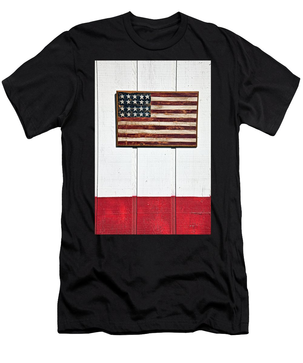 Folk Art American Flag Wooden Wall Men's T-Shirt (Athletic Fit) featuring the photograph Folk Art American Flag On Wooden Wall by Garry Gay