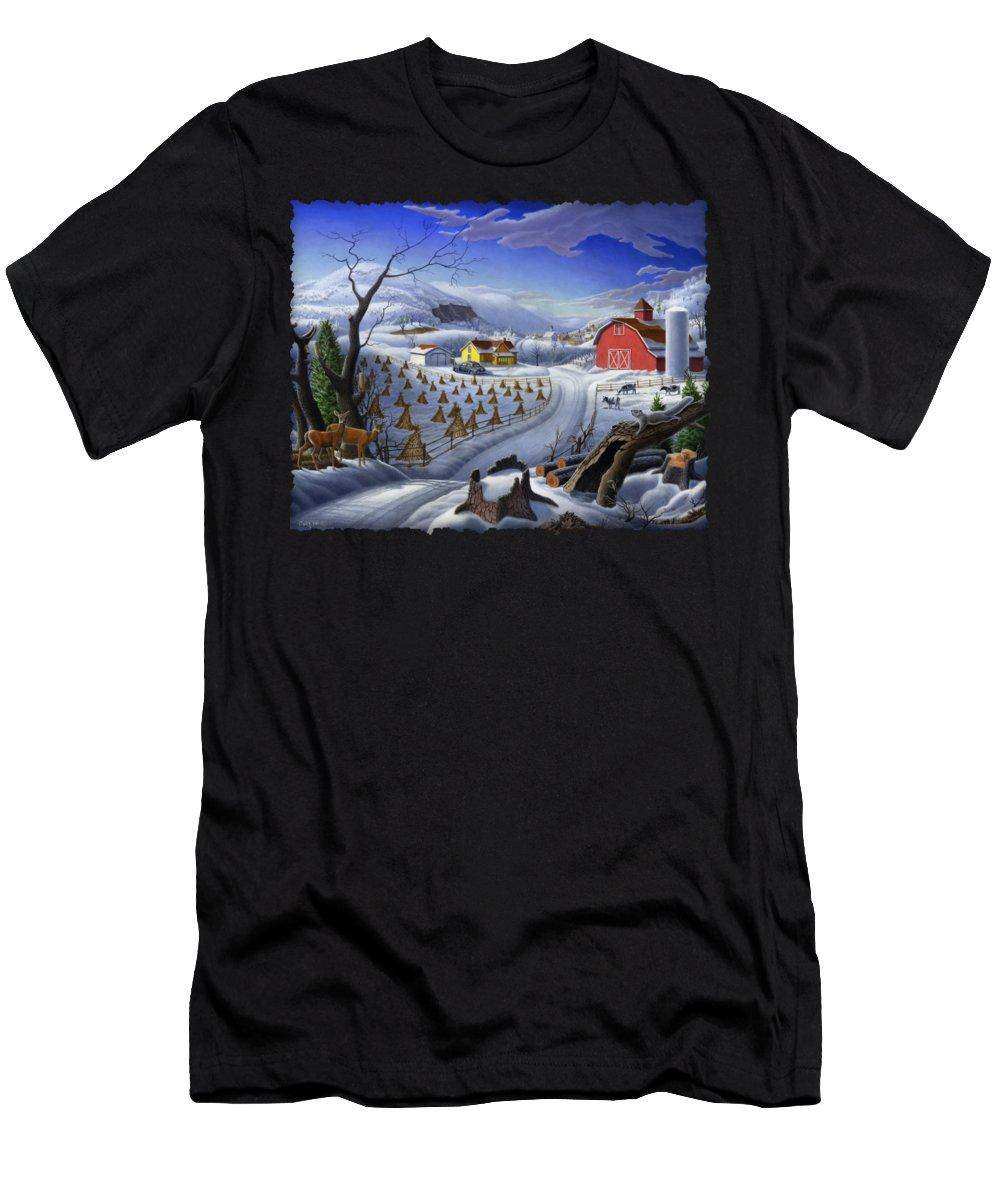 Folk Art Men's T-Shirt (Athletic Fit) featuring the painting Folk Art Winter Landscape by Walt Curlee